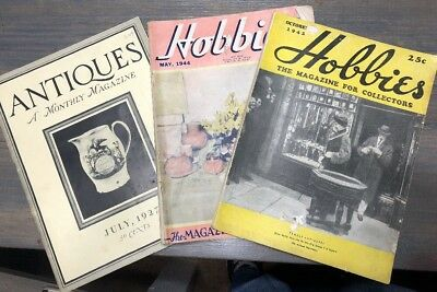 Vtg LOT OF 3 Hobbies the Magazine for Collectors 1927 TO 1944 ANTIQUES NICE