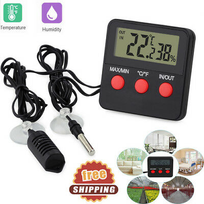 Digital Thermometer Hygrometer In/Outdoor Temperature Humidity Probe Tester NEW