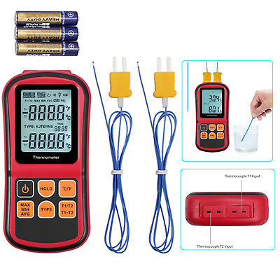 Digital LCD Thermocouple Thermometer Temperature 2channel Backlight Meter Tester