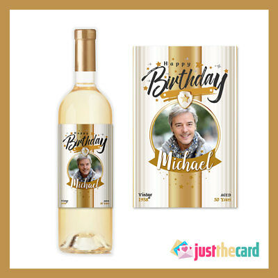 Personalised Happy Birthday Photo Wine Label Gift