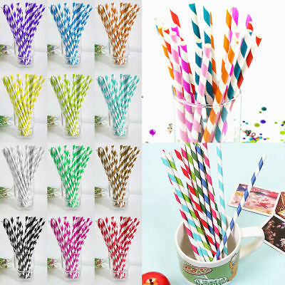 50/100pcs Biodegradable Paper Drinking Straws Striped Birthday Party Wedding AT