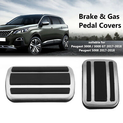 2x Brake Gas Fuel Foot Pedal Pad Cover For Peugeot 3008 / 3008 GT 5008  2017-18