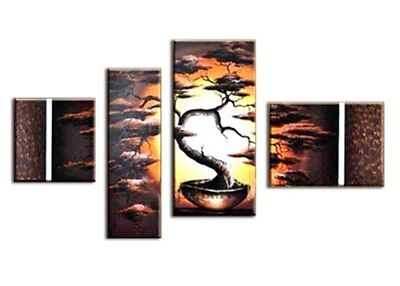 UK Framed Hand Painted Multi Split Canvas Pictures Living Dining Room Decoration