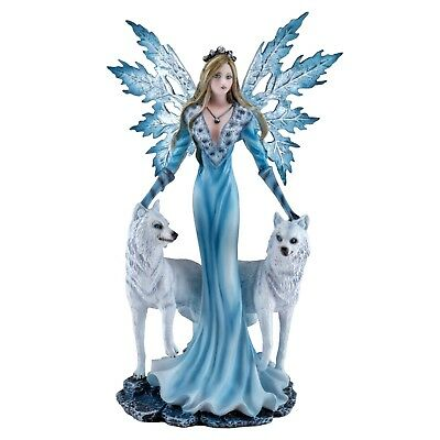 "Fairy With Two White Wolves Figurine Statue 9.5"" High Detailed Resin New In Box!"