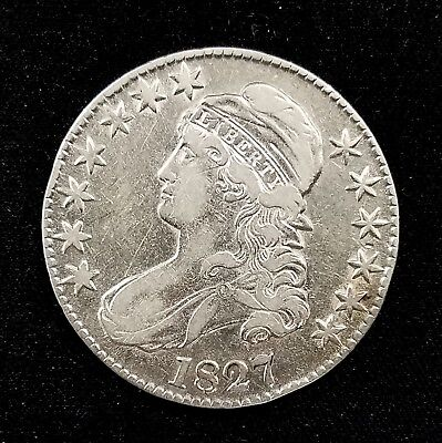 1827 Capped Bust Lettered Edge Half Dollar, square base 2 variety!