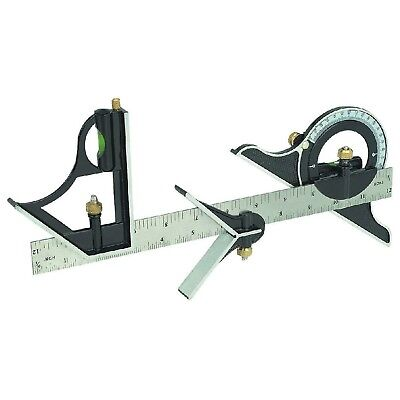 "12"" Combination Tri Square Set Angle Finder & Protractor Level SAE & Metric"