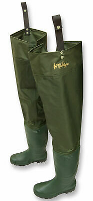 Michigan Nylon Waterproof Fly Coarse Fishing Hip Waders Sizes 6 - 12 Thigh Boots