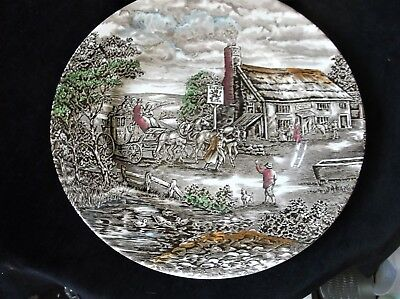 """Vintage Dinner Plate Wood And Sons The Post House Red Lion Inn Colour Tinted 10"""""""