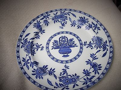 """Vintage 10"""" Dinner Plate Wood & Sons Delft Style Rich Blues Urn Floral"""
