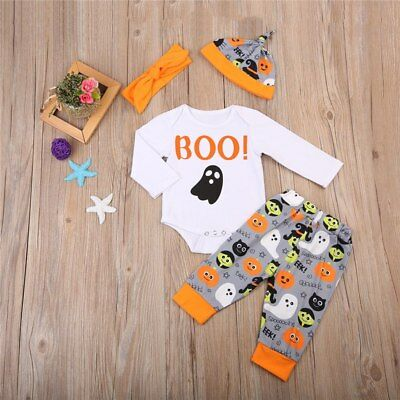 Halloween 4 PCS Newborn Baby Outfit Boo with Ghosts Size 0-18M (Free Shipping)