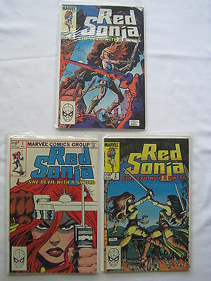 RED SONJA, SHE-DEVIL WITH A SWORD:COMPLETE RUN of #s 1,2,3.ALL FN-NM.MARVEL.1983