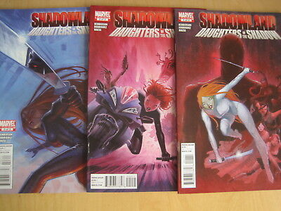 """SHADOWLAND : """"DAUGHTERS of the SHADOW"""" . COMPLETE 3 ISSUE 2010 MARVEL SERIES"""