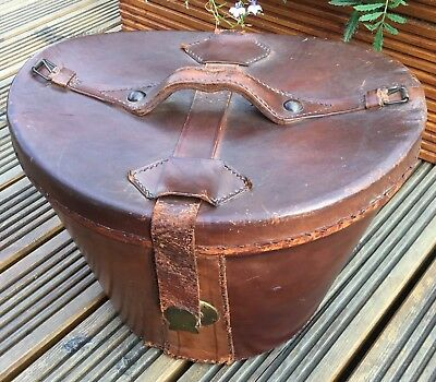 Early 20Th Century Brown Vintage Leather Top Hat Box Storage - Good Display