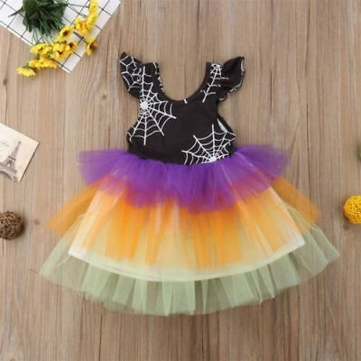 Toddler Halloween Ruffle Tulle Spider Web Dress Sizes 2-6T (Free Shipping)