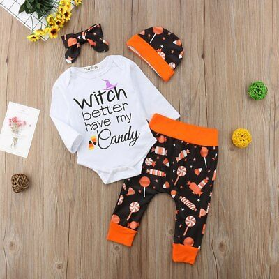 4 PCS. Infant Girls Halloween Witch Better Have My Candy Outfit (Free Shipping)