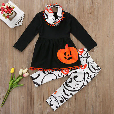 S-315 Toddler Girls Halloween 3PC Pumpkin Outfit Set Size 3T-7T (Free Shipping)