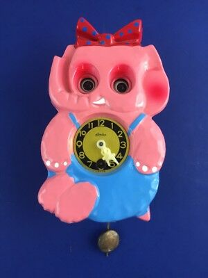 Vintage Linden Cuckoo Clock Animated Elephant Moving Eyes JAPAN For Repair AS IS