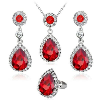 Red crystal teardrop ladies fashion necklace, earring & ring set