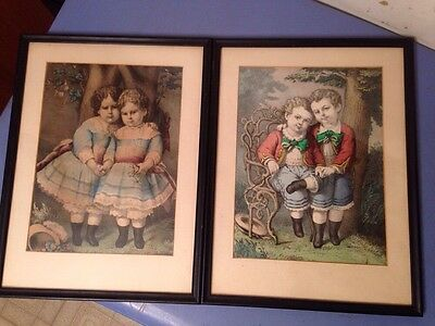 Pair Of Antique Currier & Ives Lithographs Little Brothers Sisters