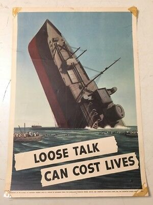 Rare Original WWII Loose Talk Can Cost Lives Poster Sinking Ship 1942