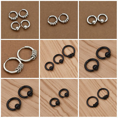 Men Gothic Punk Stainless Steel Earrings Cuff Clip Silver Hoop Stud Jewelry Gift