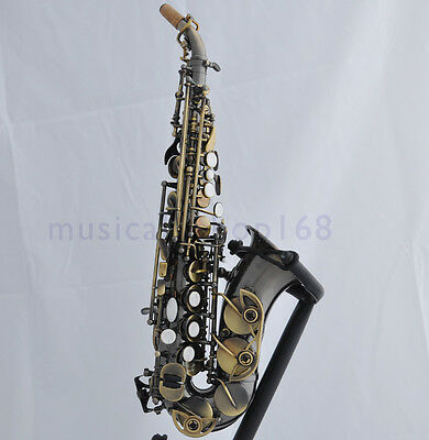 Top New Antique brass Sporano curved sax Bb saxophone high F# with case