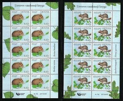Lithuania 2017 set of MNH KLB WWF Northern birch mouse & Garden dormouse