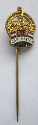 1953 QUEEN ELIZABETH II CORONATION STICK PIN or TIE PIN TOPPED WITH A CROWN