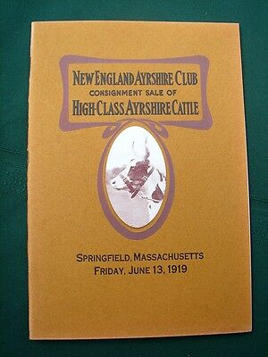 New England Ayrshire Club Massachusetts orig 1919 Cattle Auction Catalog
