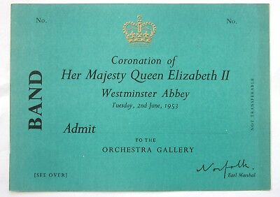1953 Queen Elizabeth Ii Coronation Ticket For Band Member  In Orchestra Gallery