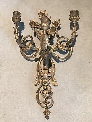 Large Antique Gilt Wood Gesso On Wood Classical Wall  Triple Sconce,candelabra