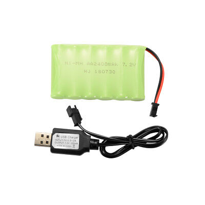 AA NI-MH 4.8V/6.0V/7.2V 2400mAh Battery + Charger Cable for Car Boat Model Toys