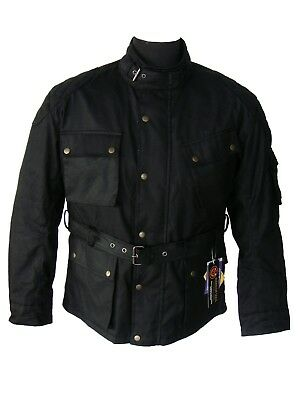 Amg Motorcycle Motorbike Waxed Cotton Ce Armour Waterproof Lined Biker Jackets