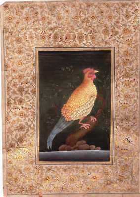 Rare Antique Islamic Bird Painting With Calligraphy Poetry Page Khate On Back