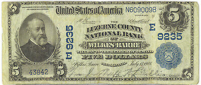 United States 1908 National Currency $5 Five Dollars Luzerne County F/ VF SCARCE