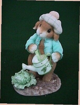 My Blushing Bunnies LETTUCE GIVE THANKS FOR FRIENDS Bunny with Watering Can NEW