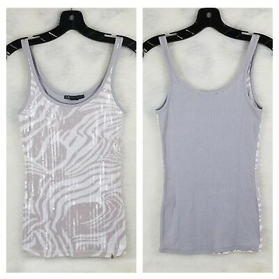 A|X ARMANI EXCHANGE Sequins Tank Top T Shirt Tee Sleeveless Blouse SIZE S