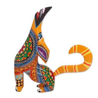 Howling Coyote Alebrije Figurine Multi-Color Copal Wood NOVICA Mexico