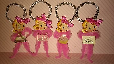 4 Vintage Style Chenille Ornaments Little Girl Happy Birthday Party Tags
