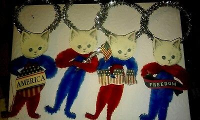 4 Patriotic White Kitten Ornaments Favors Tags Freedom Flags