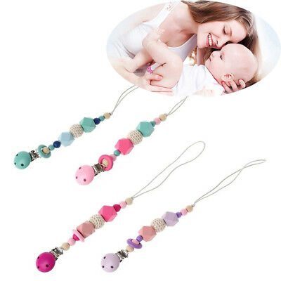 Newborn Product Dummy Clasps Silicone Beads Soother Holder Baby Pacifier Chain
