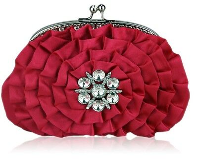 Pink crystal flower ladies womens fashion clutch wedding evening bag