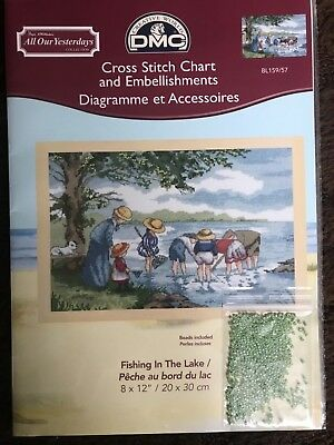 "DMC Cross Stitch Chart And Embellishment: BL159/57 Fishing In The Lake 8""x12"""