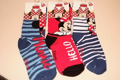 Girls 3 Pack Minnie Mouse Socks 3 Pairs 3 Sizes Disney New