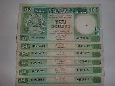 - Hong Kong Paper Money - 6  Old Currency Notes -  $10 Hsb Notes - Rare