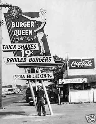 "5x7"" photo BURGER QUEEN DINER JOINT 40-50'S SHAKES BURGS BROASTED CHICKEN COKE"