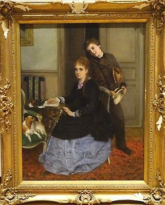 Large 19th Century Girl & Letter Boy Admirer Antique Oil Painting William OLIVER
