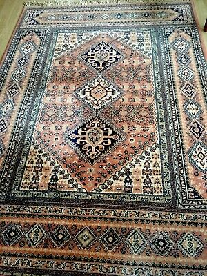 Pretty Kashan Carpet Rug Pink And Dark Blue Wool Handmade