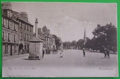 M,WANE Postcard POSTED 1904 HIGH STREET FROM TOWN HALL MUSSELBURGH EAST LOTHIAN