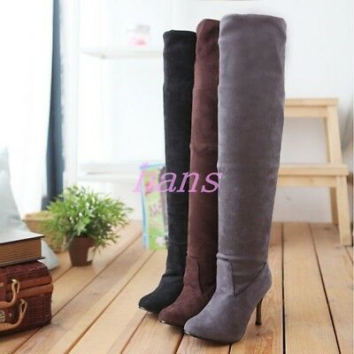 Hot  sale Womens Faux Suede High Heel Stiletto Over Knee Thigh Boots Party Shoes